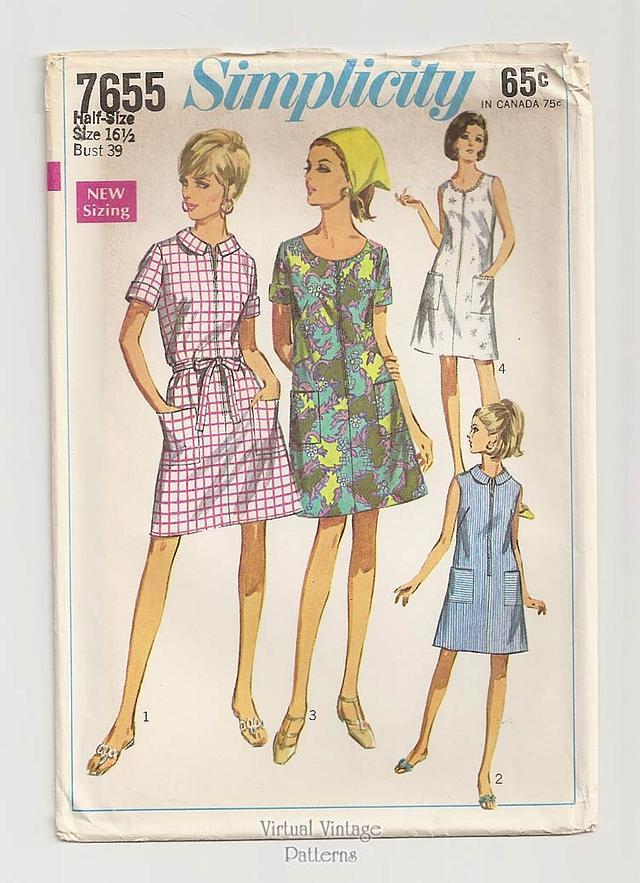 Front Zip A Line Dress Pattern, Simplicity 7655, Bust 39, Uncut