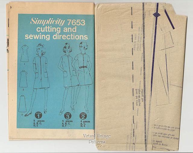 60s Sleeveless A-line Dress Pattern, Simplicity 7653, Bust 39, Uncut
