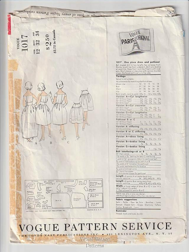 Nina Ricci Vogue 1017, Bell Skirt Dress or Evening Gown Sewing Pattern