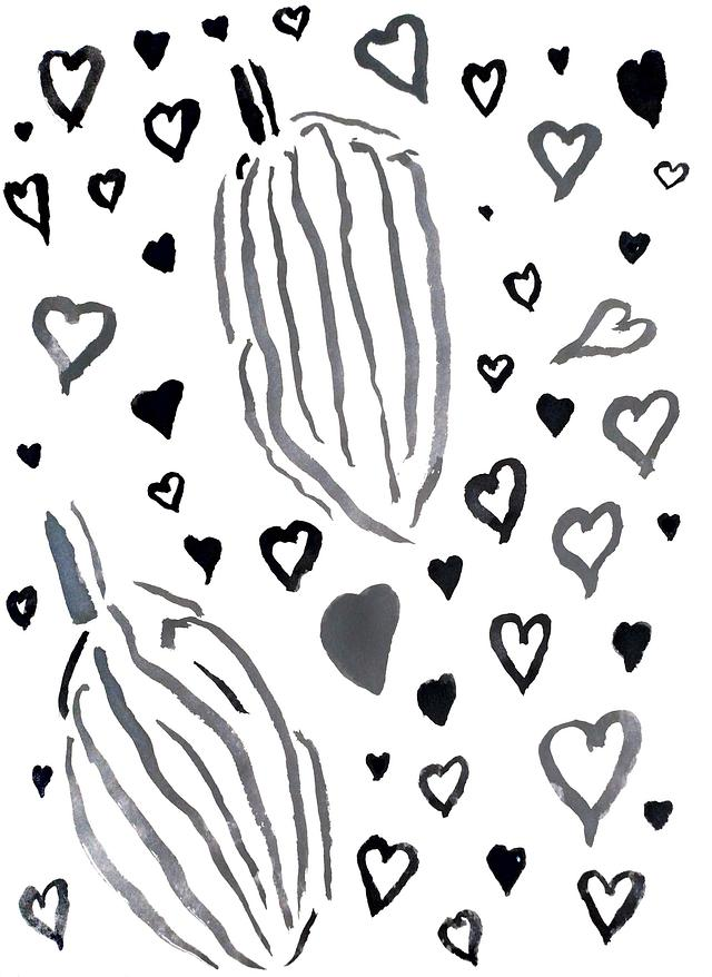 Cacao and Hearts Print ($50 - $150)