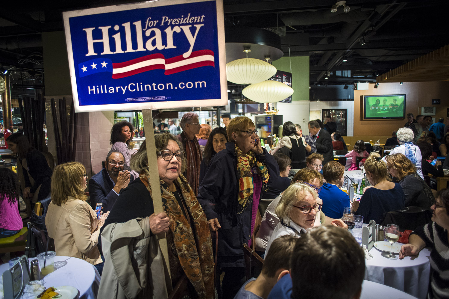 An event organized by Democrats Abroad brought together a large group of Americans expats to watch election night at a Toronto downtown restaurant, Tuesday, November 8, 2016.