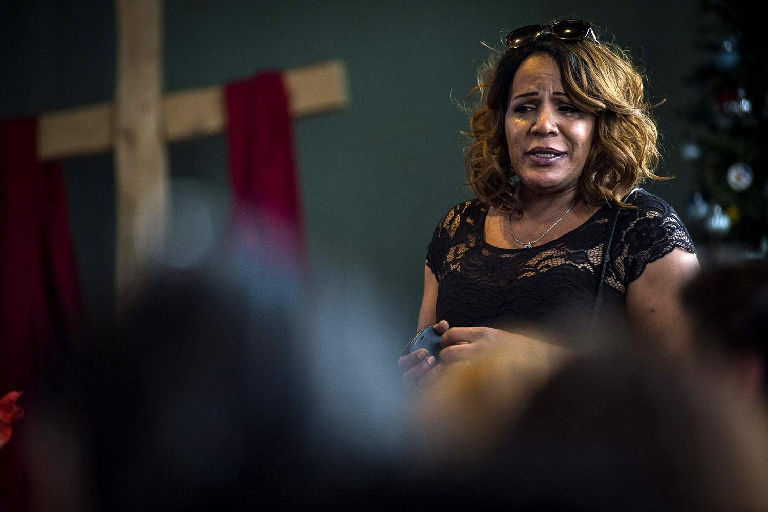 Monica Forrester, the program coordinator at Maggie's Toronto Sex Workers Action Project, speaks emotionally during a memorial service for Alloura Wells, a trans woman who had gone missing and was then found dead in one of the city's woodland ravines, Toronto, Tuesday, December 12, 2017. Forrester, a trans woman herself, has long advocated for transgender people.