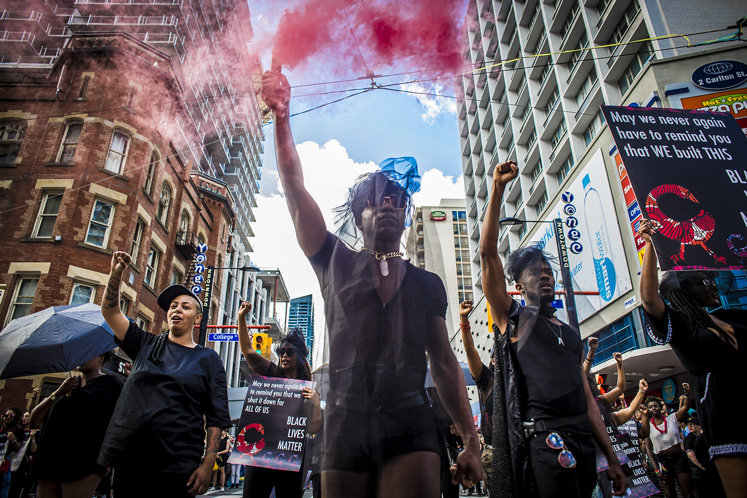 Members of Black Lives Matter movement march during Pride Parade, Toronto, Sunday, June 25, 2017.