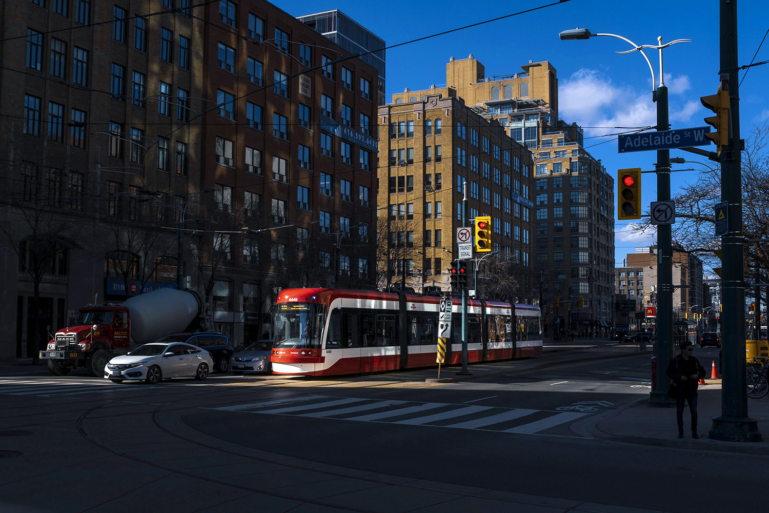 A streetcar is seen on Spading Ave., Toronto.