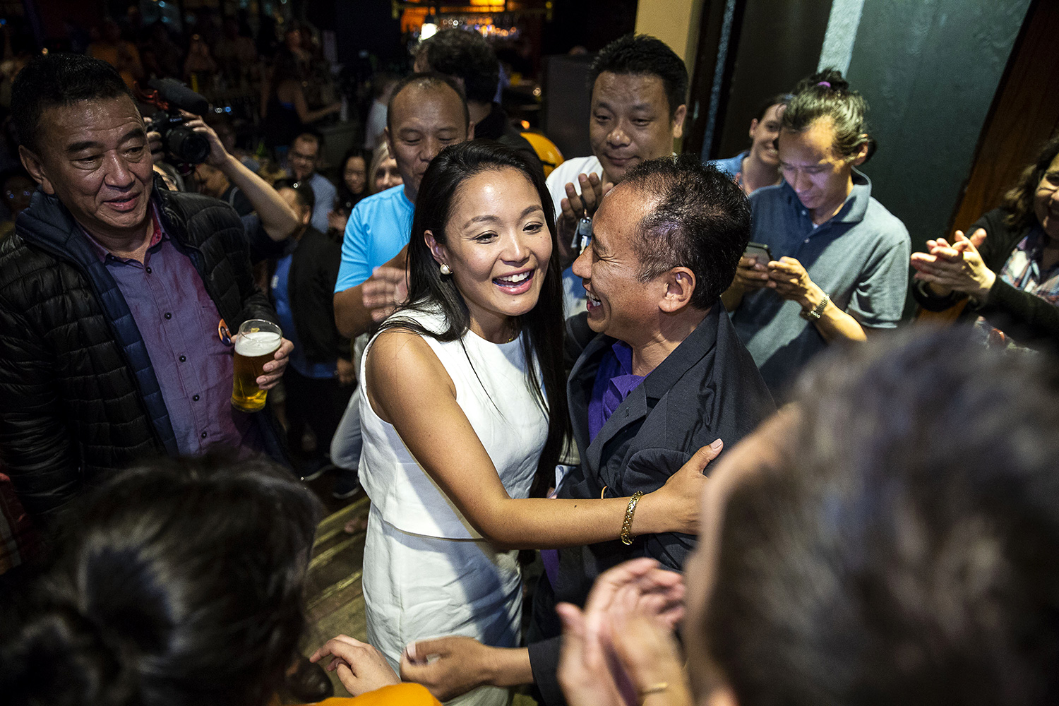 NDP candidate Bhutila Karpoche, celebrates her victory with supporters at the post election party, Toronto, Thursday, June 7, 2018. The rookie NDP candidate won the Parkdale-High Park riding by a wide margin and became the first Tibetan ever elected to public office in North America.