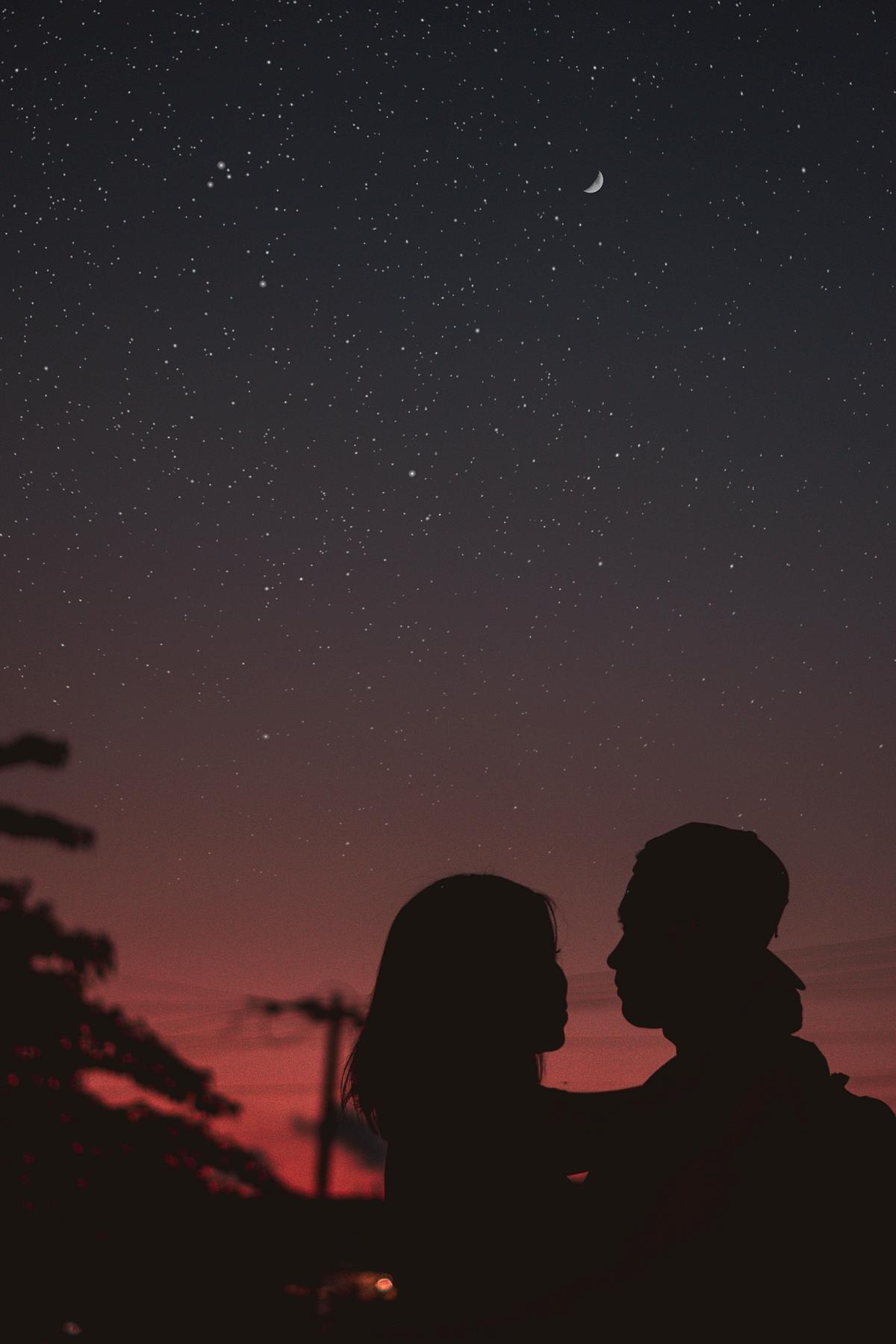 Romantic couple under the stars