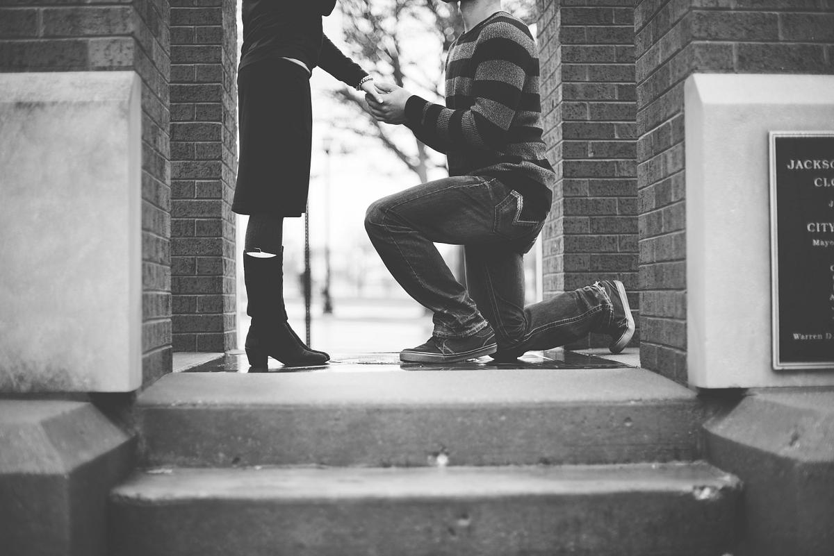 Get down on knees and propose
