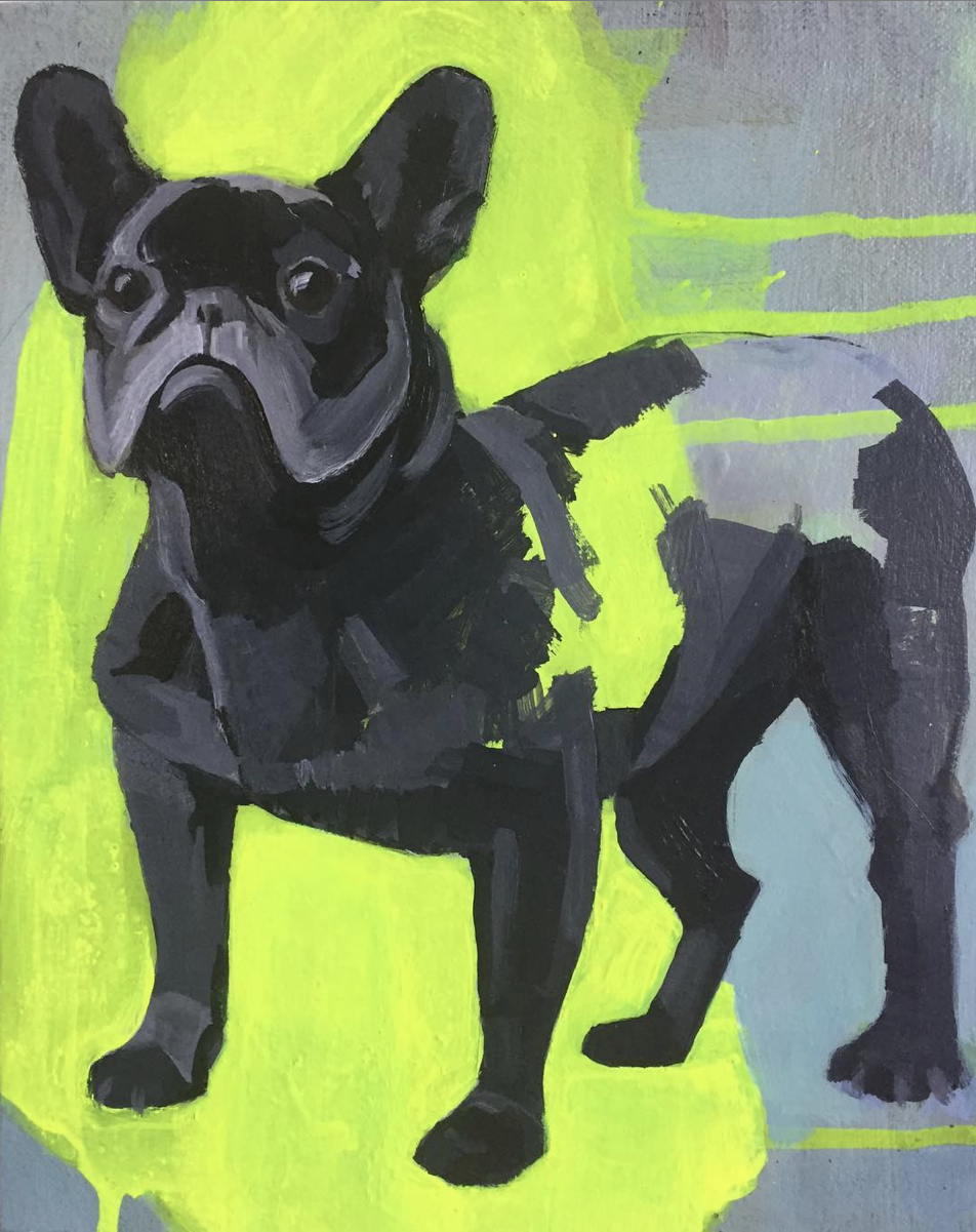 "French Bulldog (Study #3), 2019, acrylic on canvas over panel, 10"" x 8"""