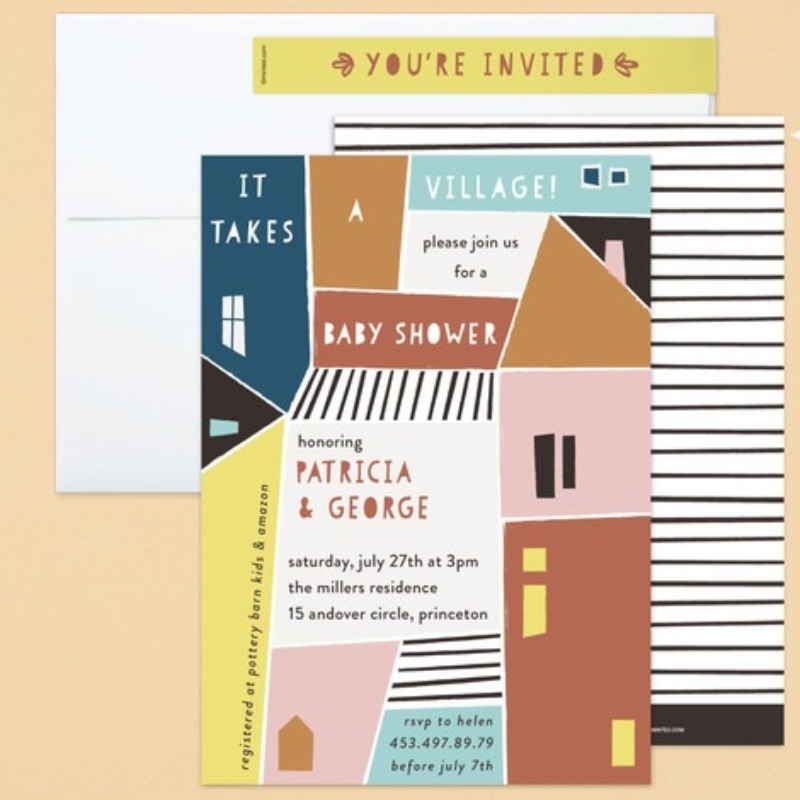 'papercut village' baby shower invitation