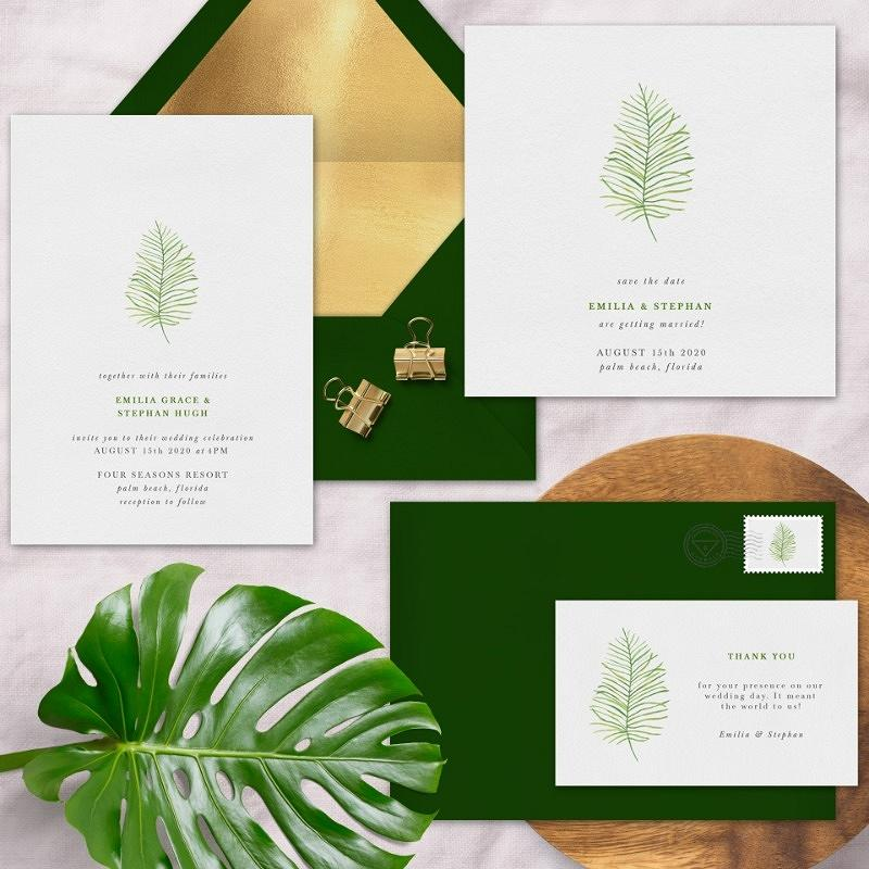 'delicate palm frond' wedding invitation suite