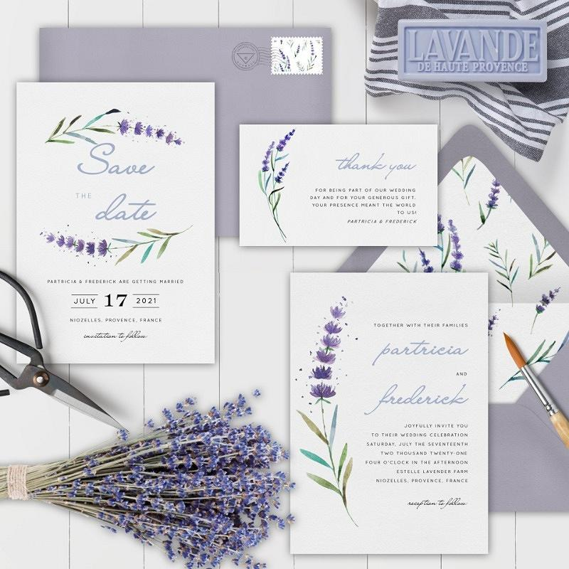 'delicate stem' wedding invitation suite