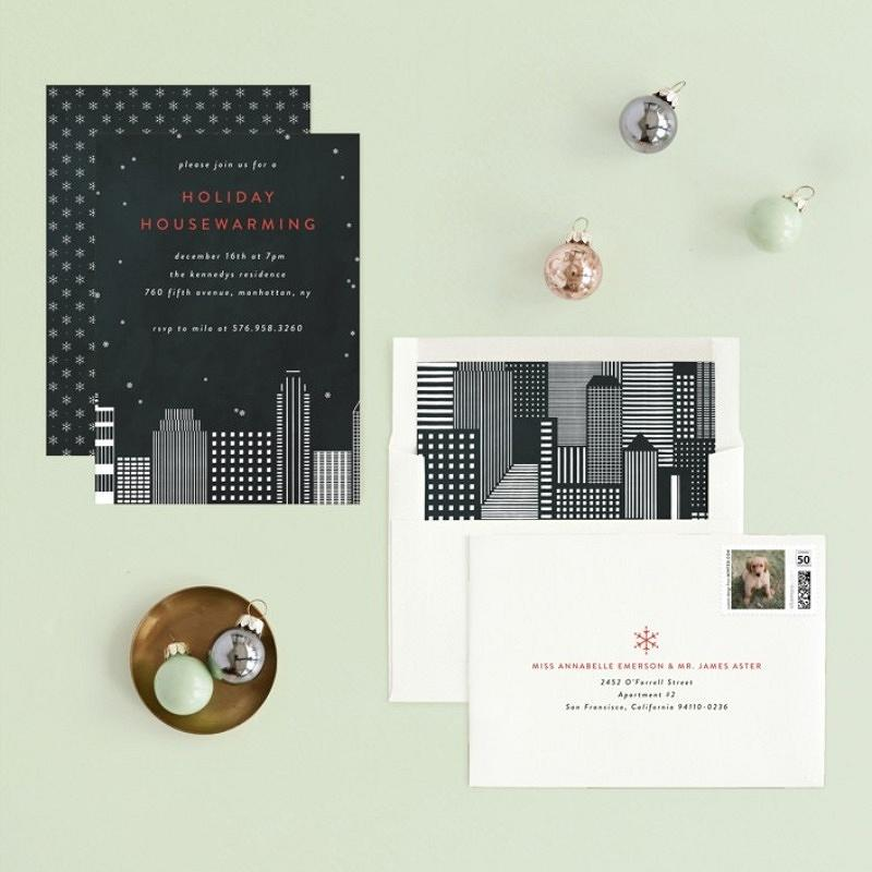 'city housewarming' holiday dinner invitation