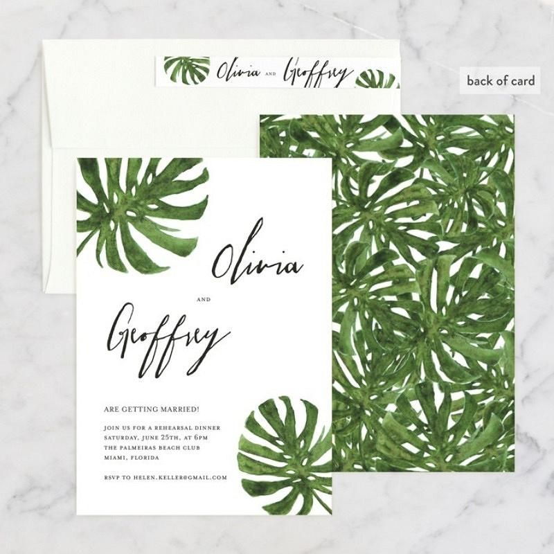 'tropical pair' rehearsal dinner invitation