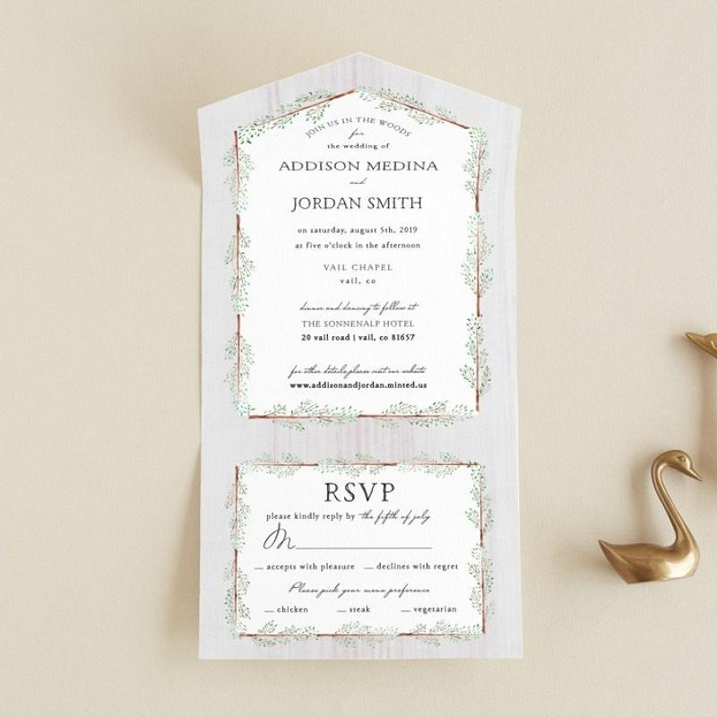 'in the woods' all-in-one wedding invitation