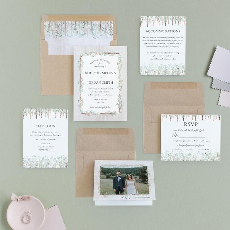 'in the woods' wedding invitation suite