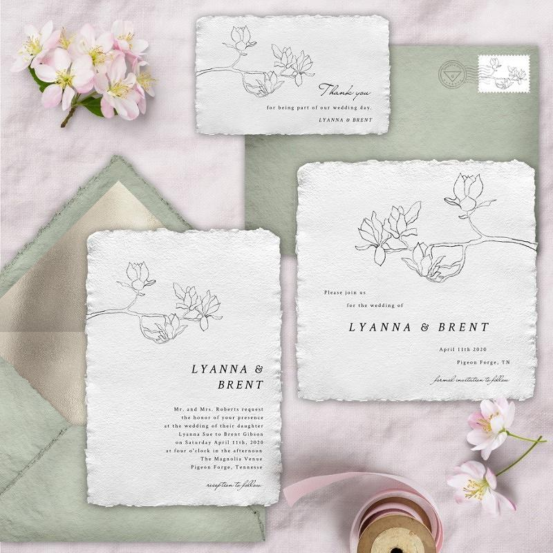 'minimal magnolia' wedding invitation suite