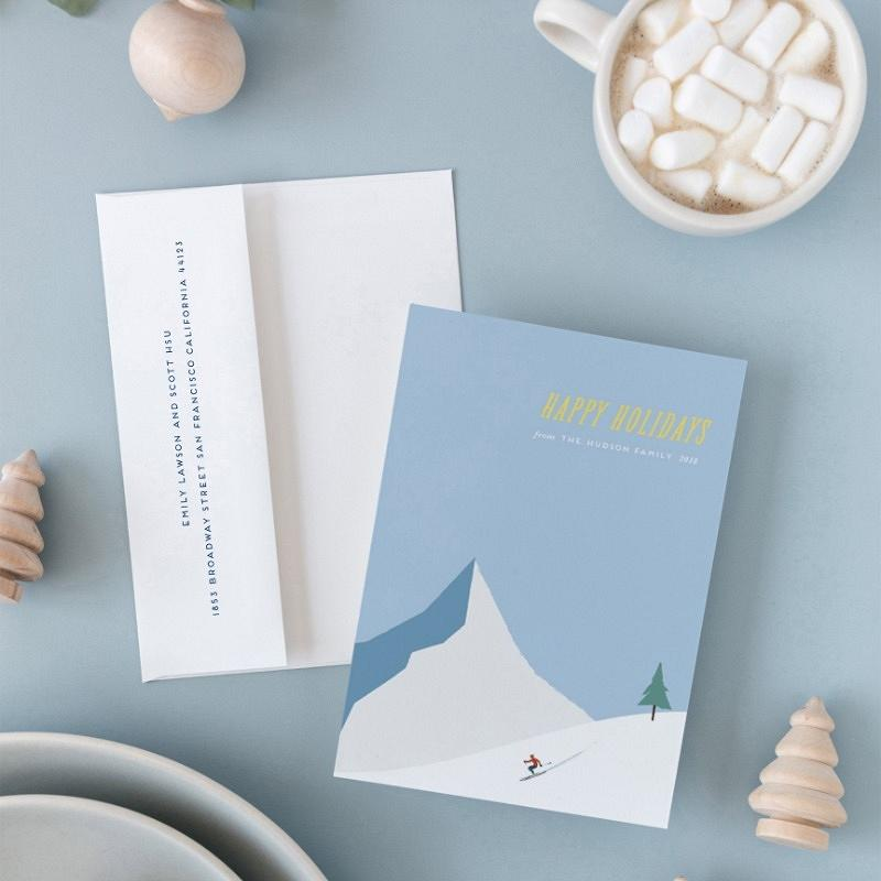 'snowy mountain' holiday card