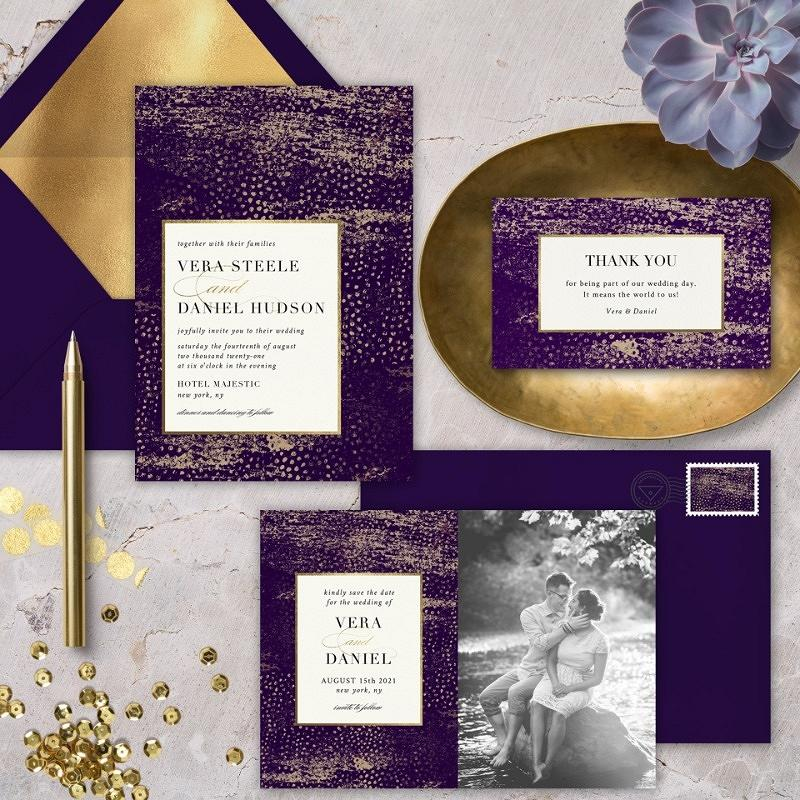 'speckled impression' wedding invitation suite