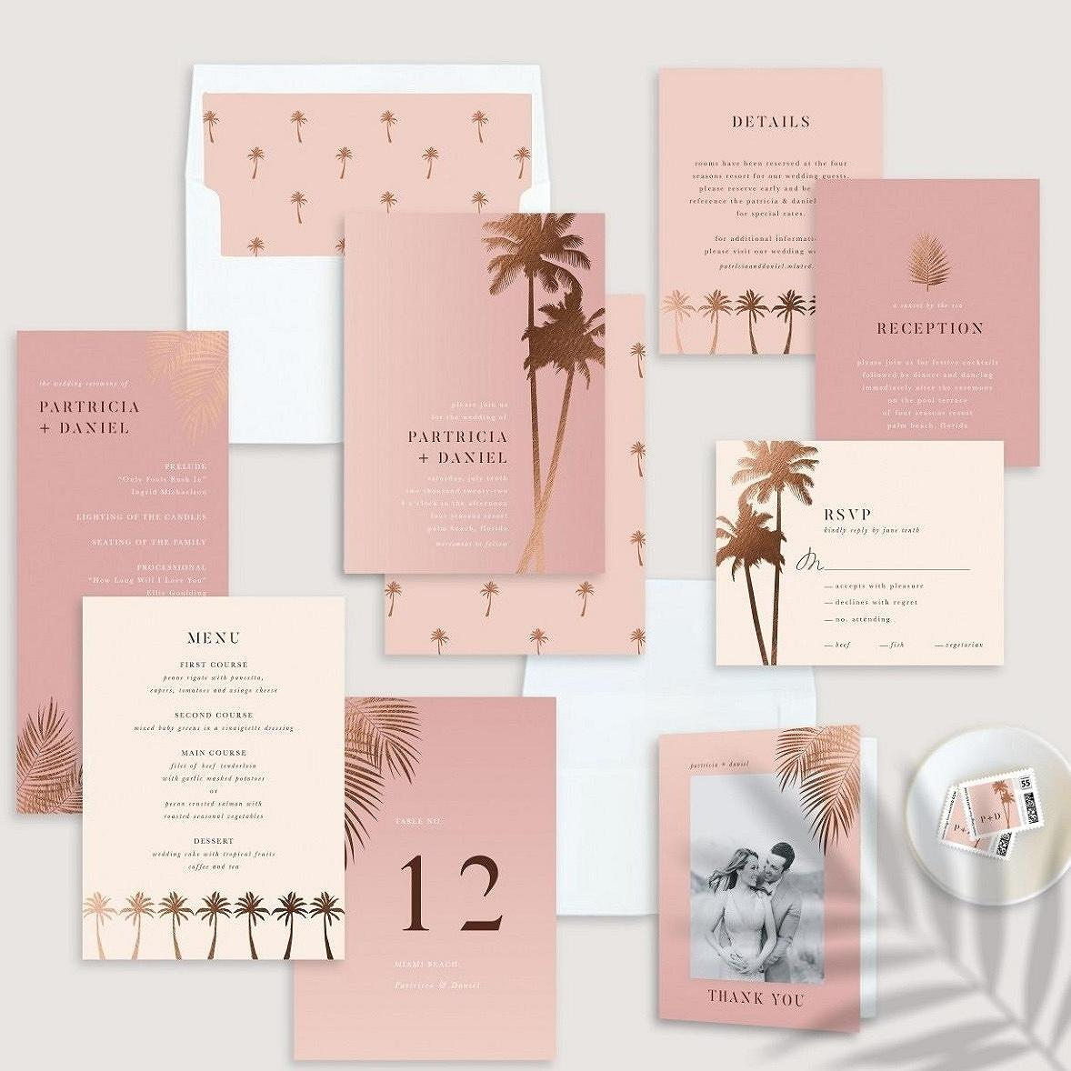 """sunset by the sea"" wedding invitation suite"