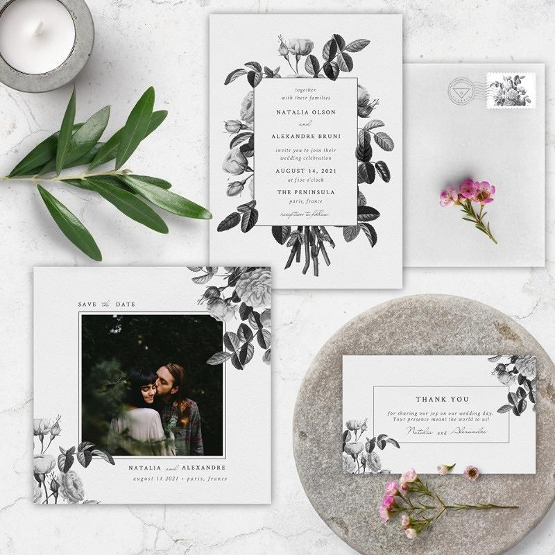 'vintage bouquet' wedding invitation suite
