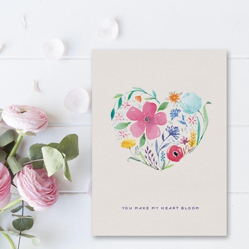 'you make my heart bloom' valentine's card