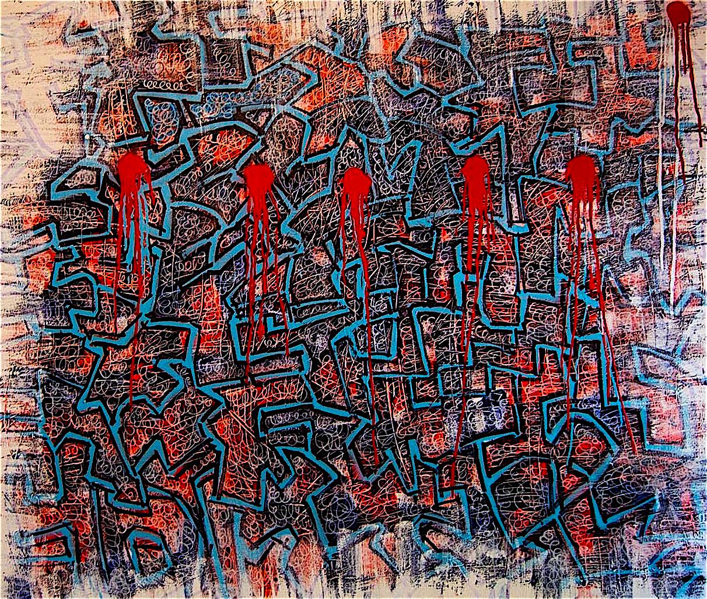 Despair - 5' x 6' - acrylic and spray paint on canvas