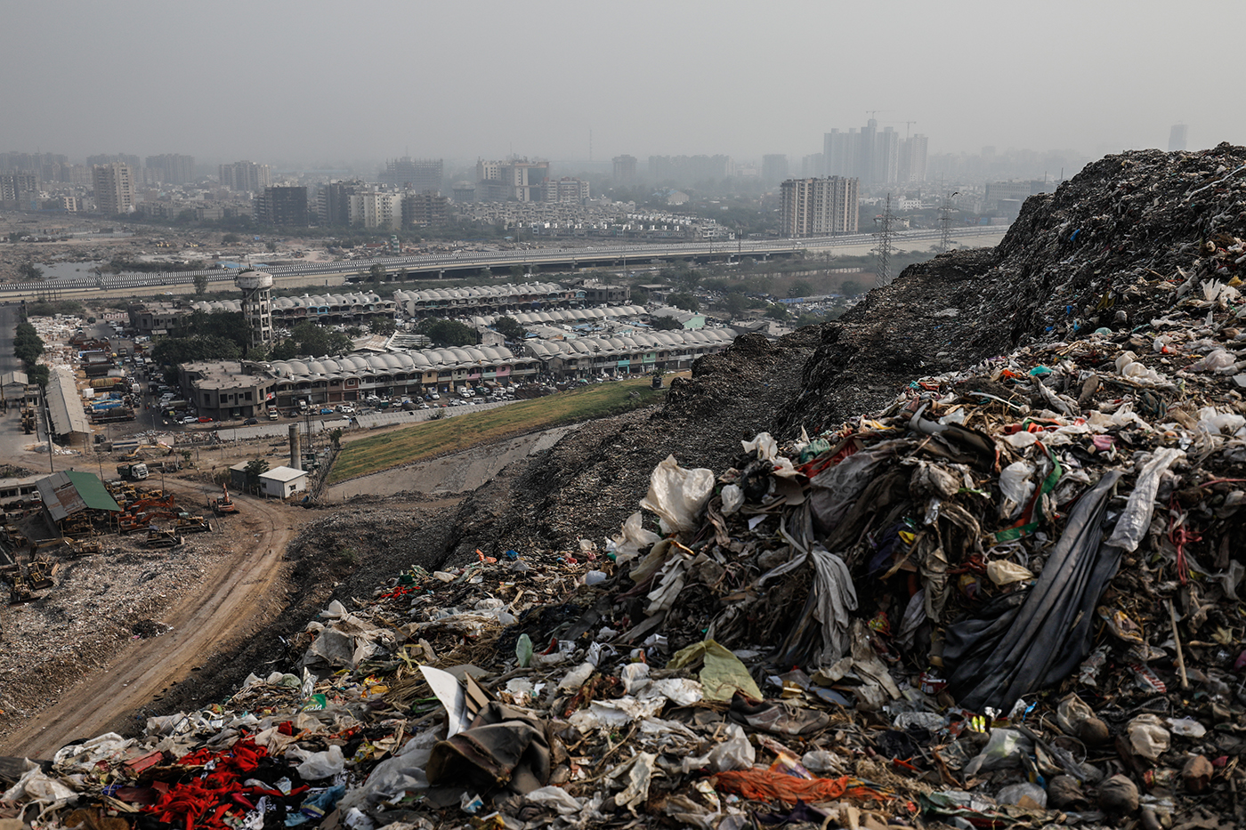 Ghazipur landfill is pictured overlooking the city in New Delhi, India.