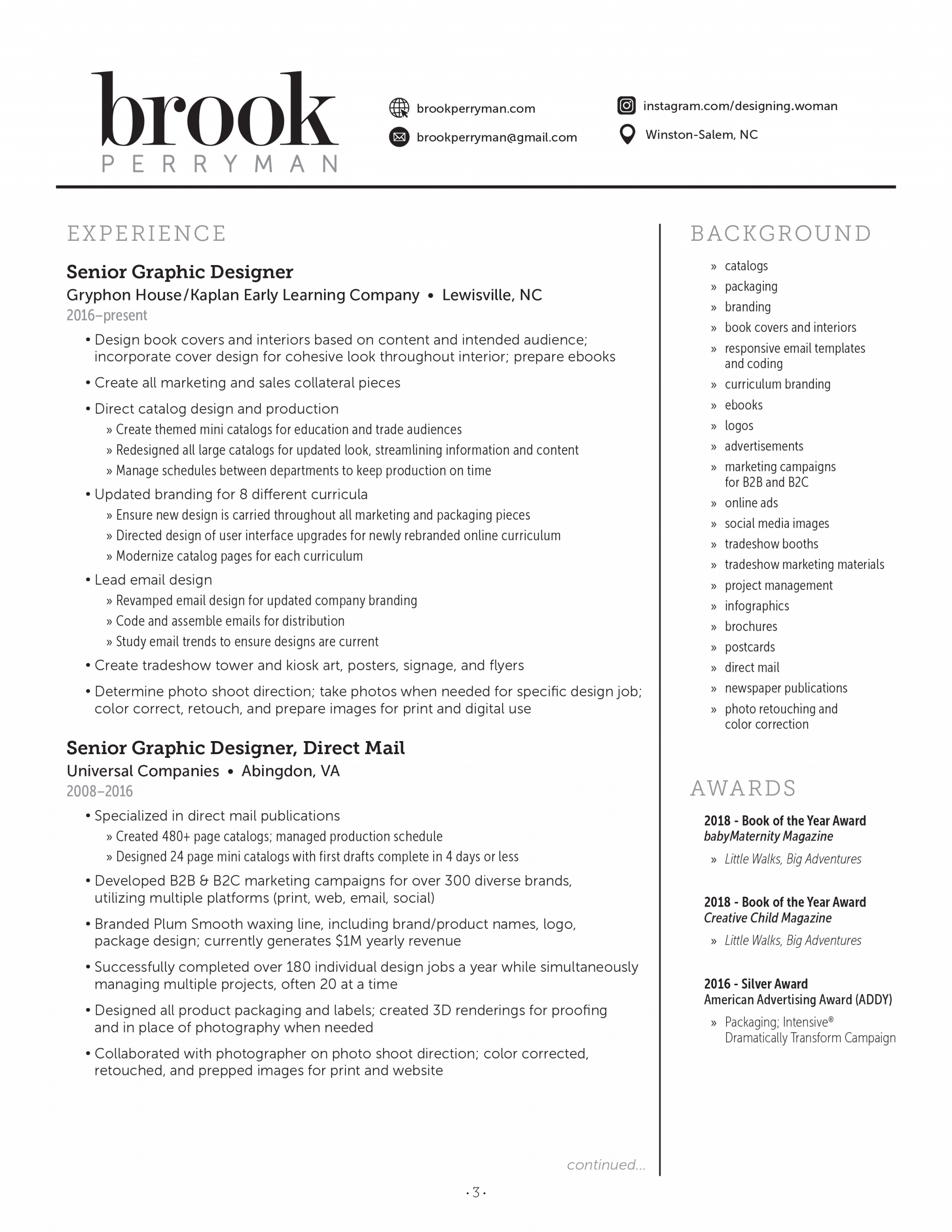 Brook Perryman downloadable resume PDF