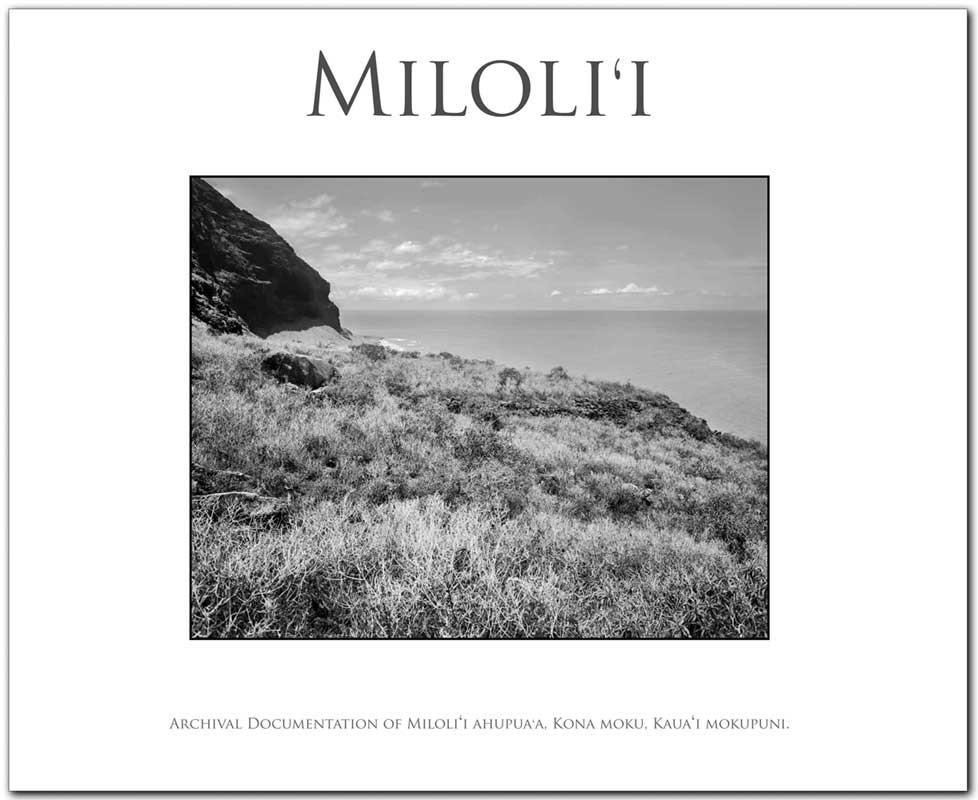 "We are proud to announce that ""Miloliʻi; Archival Documentation of Miloliʻi Ahupuaʻa, Kona Moku, Kauaʻi Mokupuni."" The first book (of 7) on Nāpali Coasts State Parks ahupuaʻa has arrived and will soon be on sale."