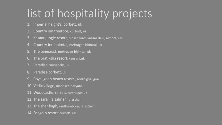 list of hospitality projects