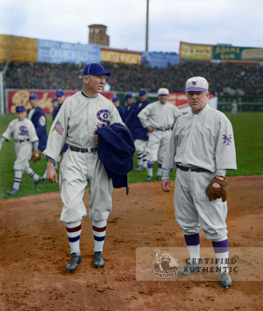 Joe Benz (White Sox) with John McGraw (Manager, NY Giants @ 1917 World Series