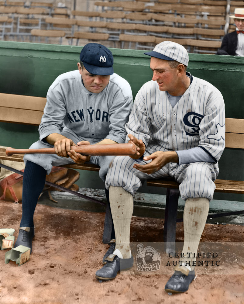 Babe Ruth and Shoeless Joe Jackson talking hitting (1920)