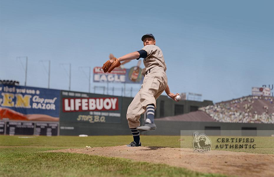 Bob Feller, Cleveland Indians, at Fenway Park (1940). Original B&W Photo © 1940 Leslie Jones