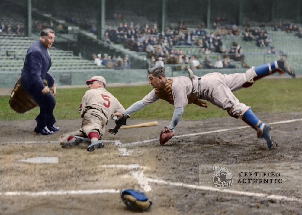 Mickey Cochrane (Philadelphia A's) tagging Pinkey Whitney (Philadelphia Phillies) - (1933)