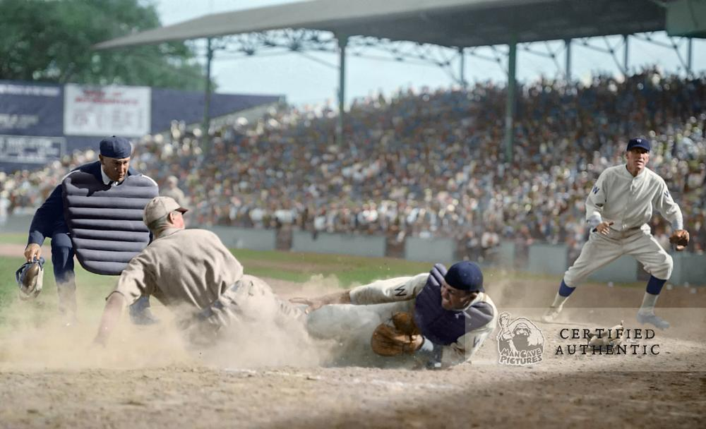 Wally Gerber (St. Louis Browns) slides into Benny Tate (Washington Senators) (1924)