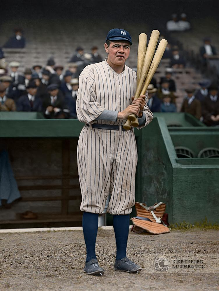 The Babe On Deck laughing at the pitcher! (1920)
