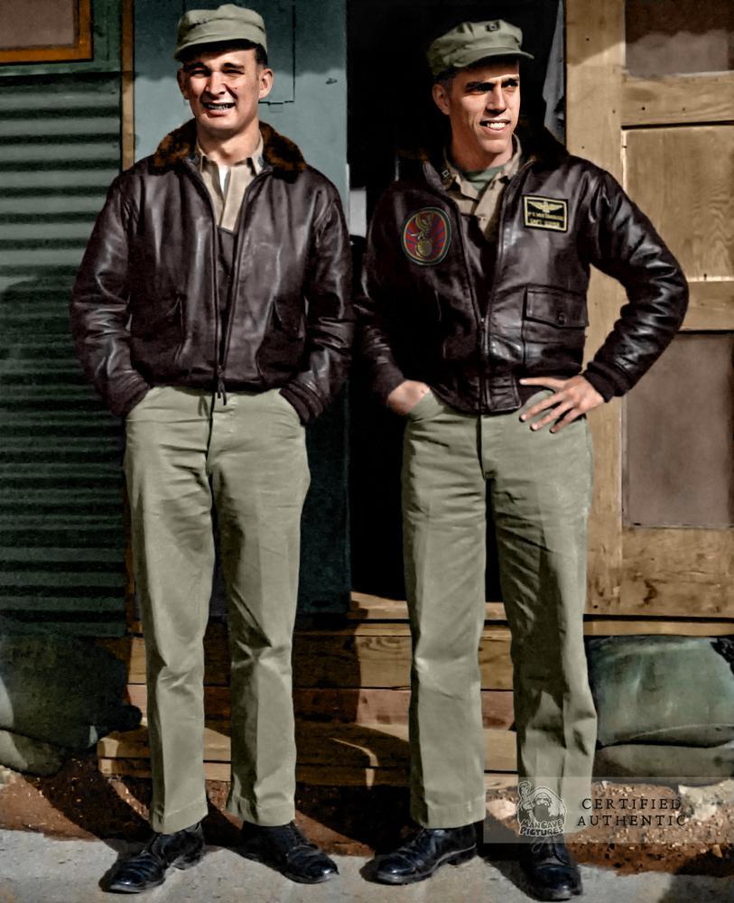 Captain Phil Whitehouse, USMCR (on Right), VMJ-1, 1st MAW, Korean War (1953)