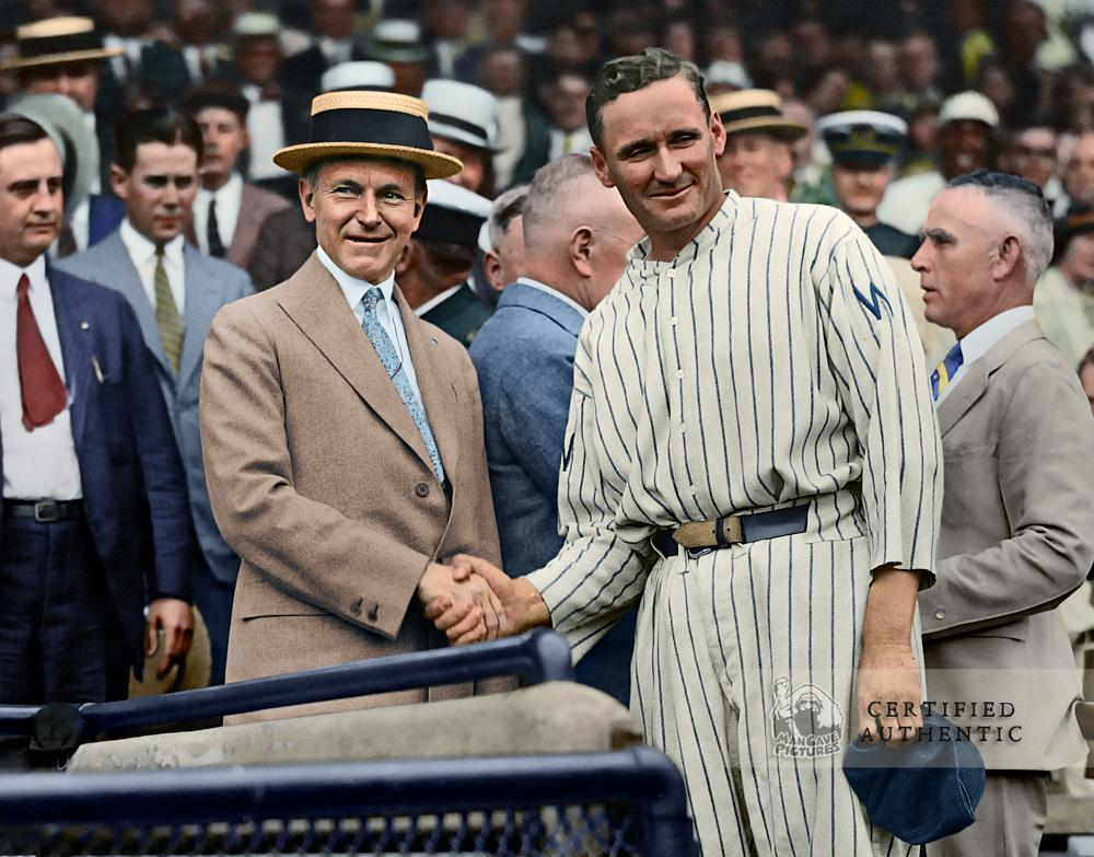 Walter Johnson & President Calvin Coolidge - World Series (1924)
