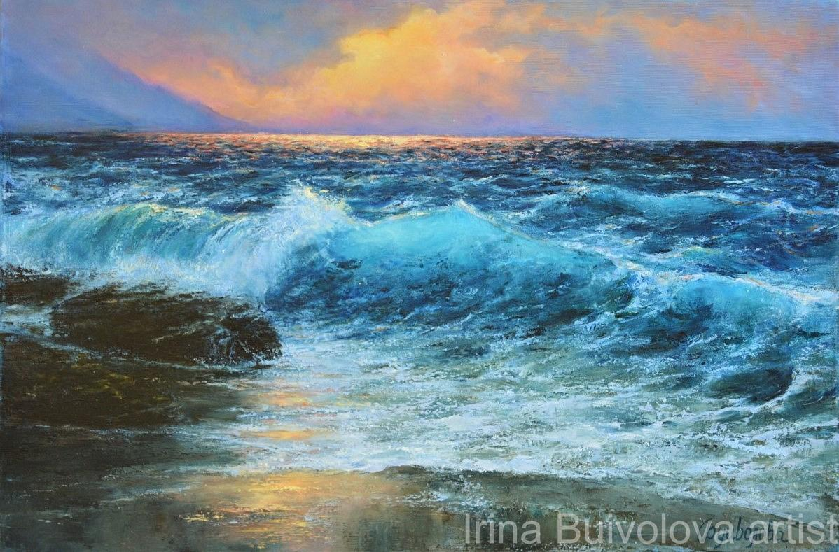Turquoise wave painting, oil on canvas size 40 60 cm