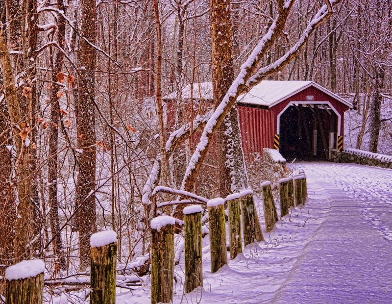 Kurtz's Mill Covered Bridge in Winter