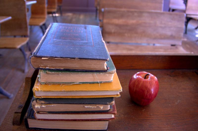 Old School Books inside the White Oak Schoolhouse Pioneer Museum