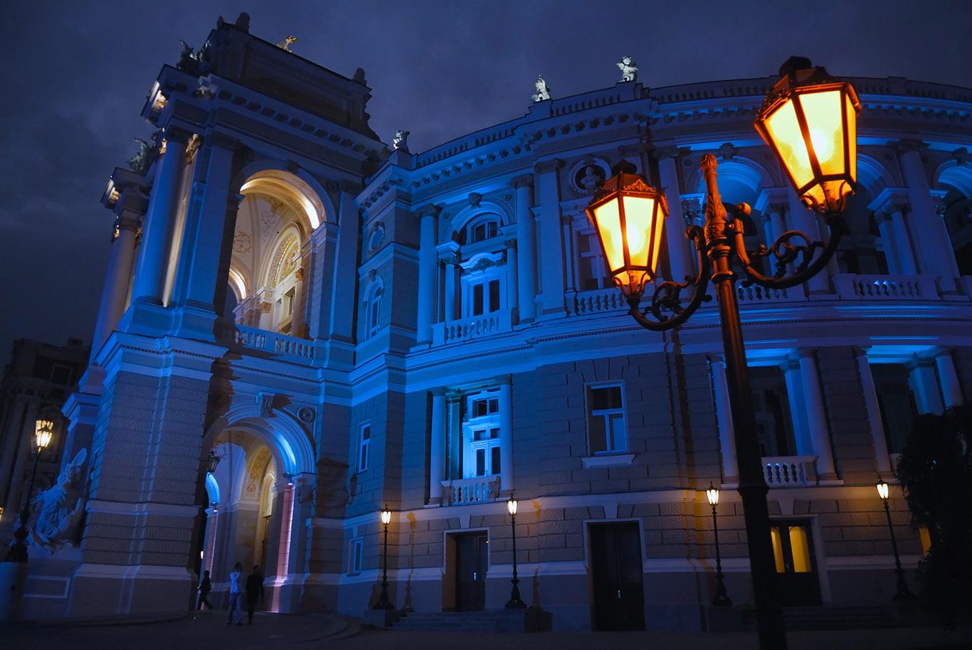 Odessa Opera House During A summer Blue Hour