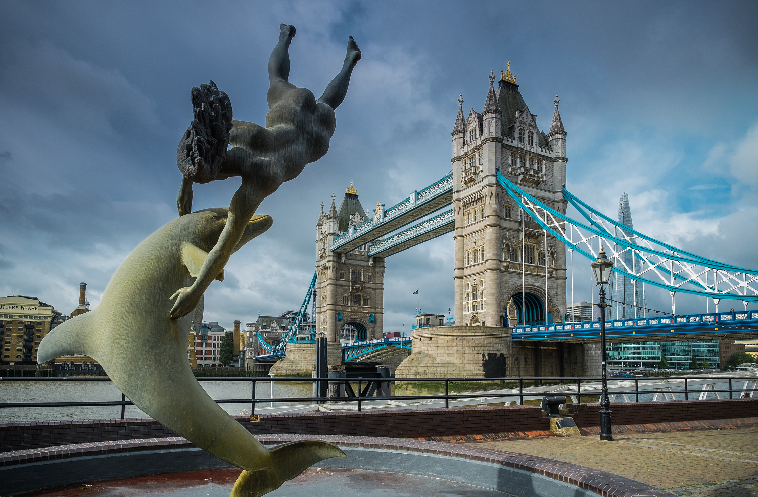 The Dolphin Statue and Tower Bridge London
