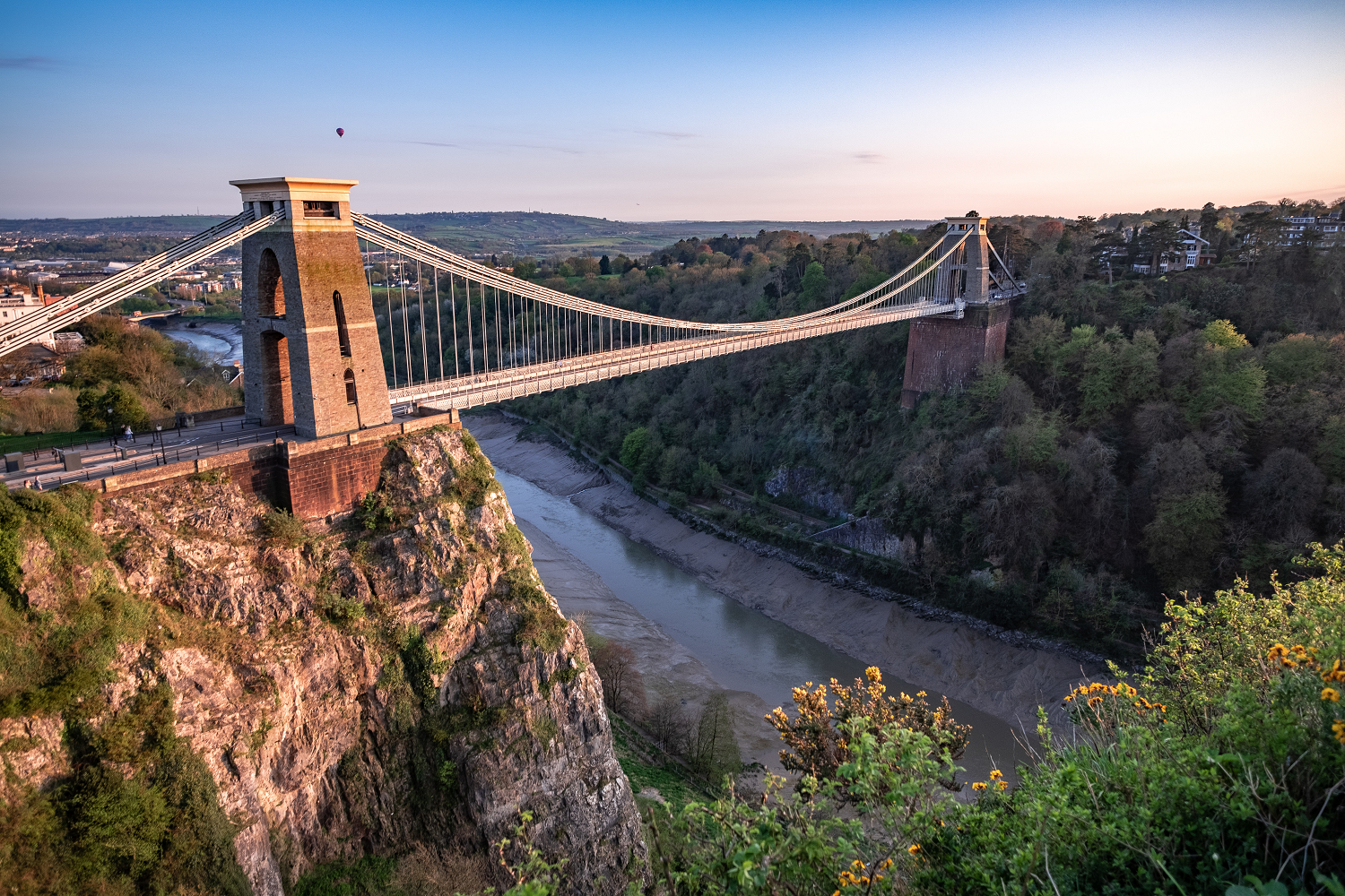 Clifton Bridge At Sundown With Hot Air Balloon