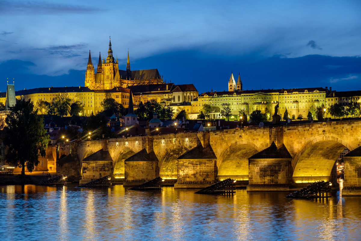 Travel Stock Image Of Charles Bridge in Prague During Blue Hour