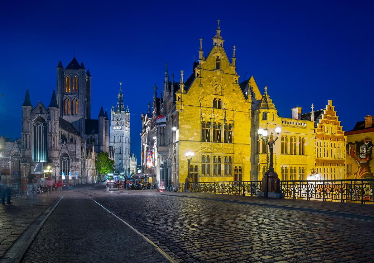 Blue Hour on St Michael's Bridge in Ghent