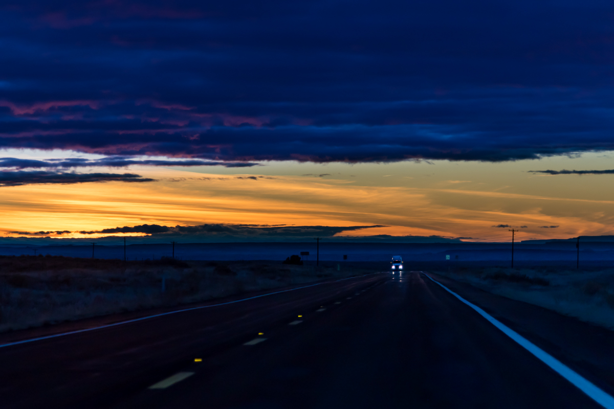 Twilight on the Road. Someplace in Arizona. United States of America