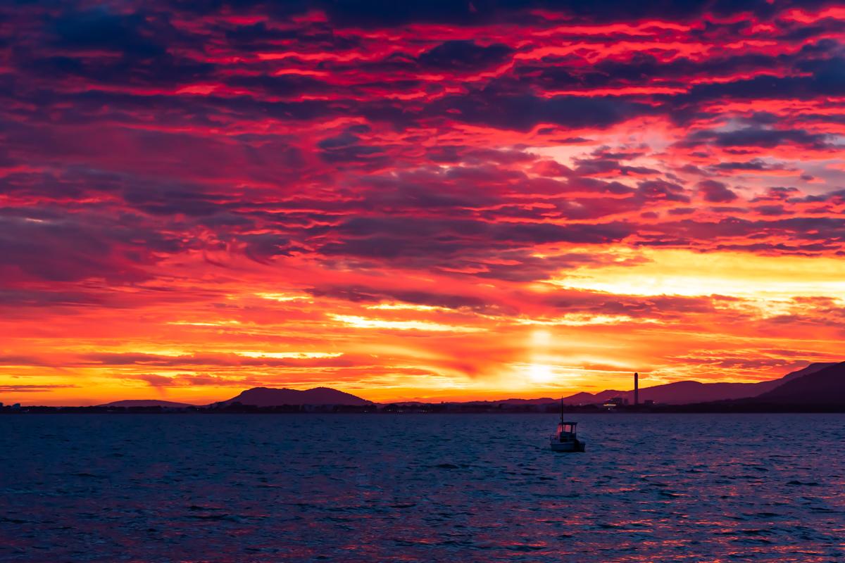 Red Sunset over Alcanada beach - Alcudia. Mallorca. Balearic Islands