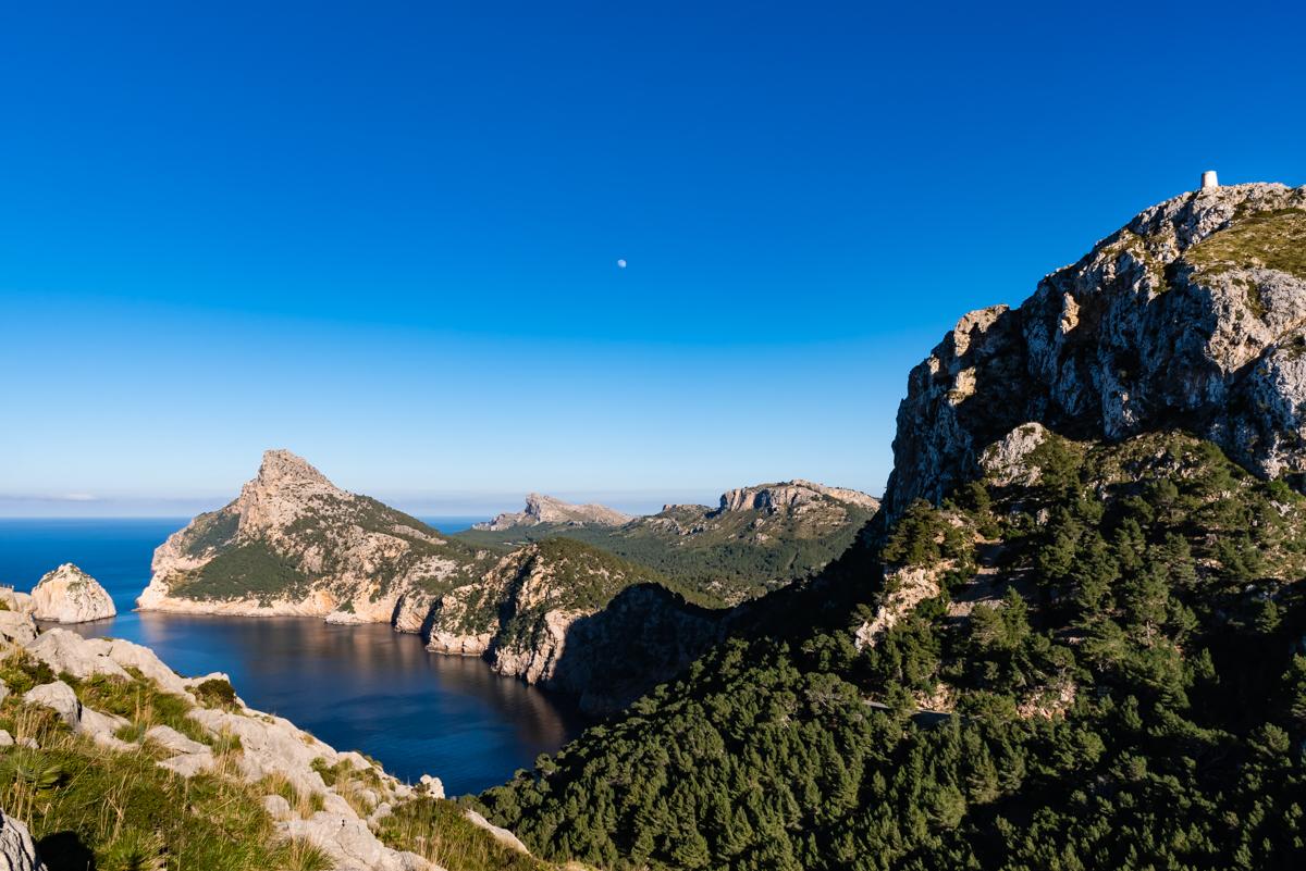 Cap de Formentor, Talaia de Albercutx and the Moon. Pollensa. Mallorca. Balearic Islands