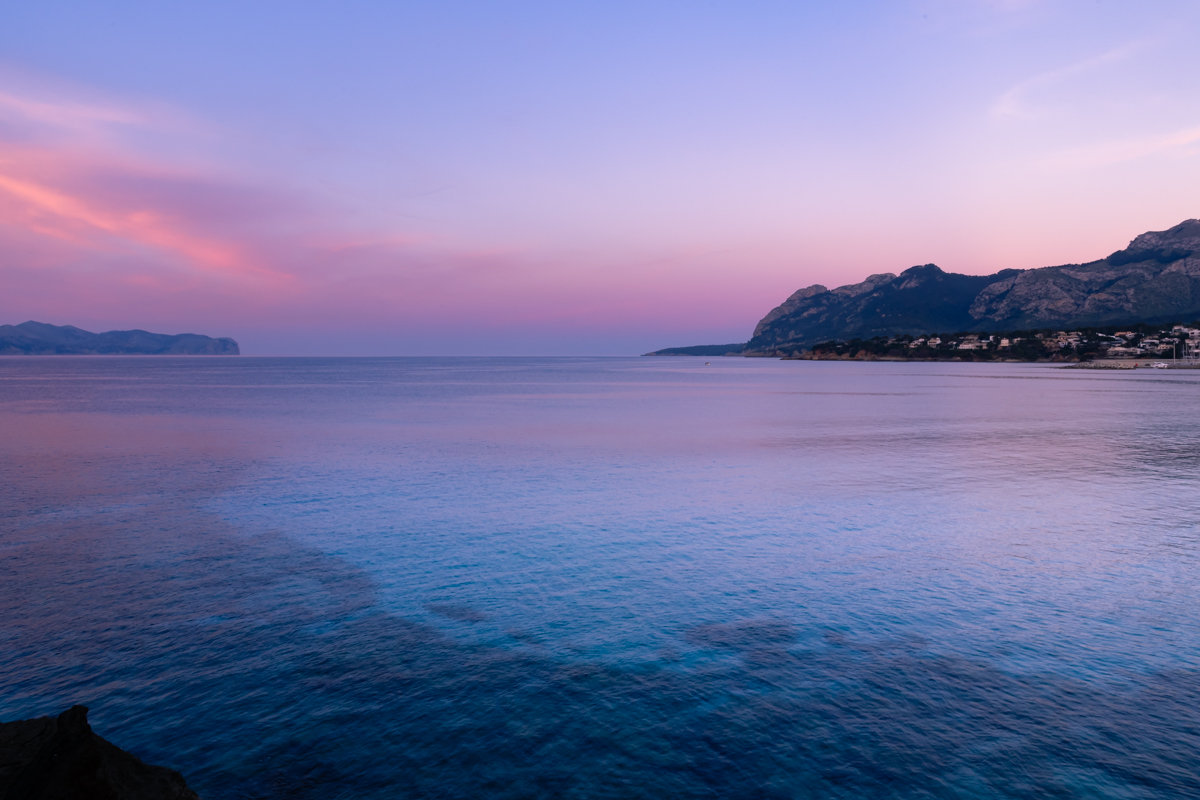 Twilight at Punta de Manresa. Pollensa Bay. Mallorca. Balearic Islands